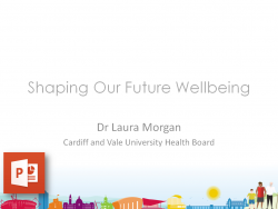 Shaping Our Future Wellbeing Powerpoint Template - Skyline and Characters